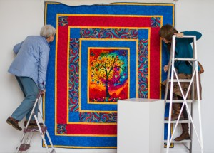 Blue and red quilt for raffle